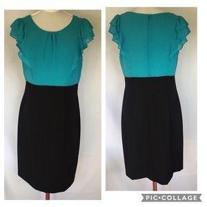 Turquoise & Black Sheath ALYX Dress, Size 8